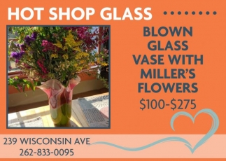 Blown Glass Vase With Miller's Flowers