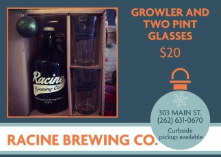 Growler and Two Pint Glasses