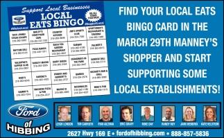 Find Your Local Eats Bingo Card Ford Of Hibbing Hibbing Mn
