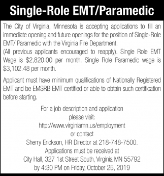 Single-Role EMT/Paramedic