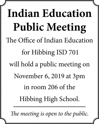 Indian Education Public Meeting