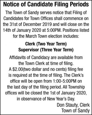 Notice Of Candidate Filing Periods