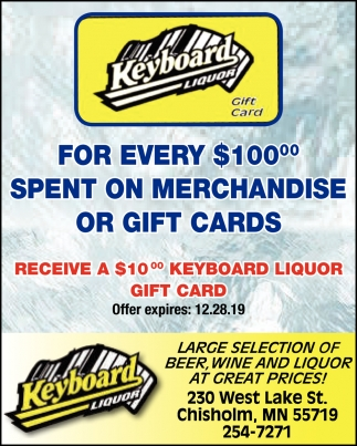 Receive A $10.00 Keyboard Liquor Gift Card