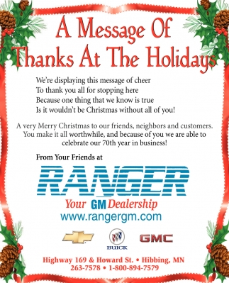 A Message Of Thanks At The Holidays