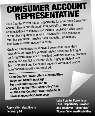 Consumer Account Representative