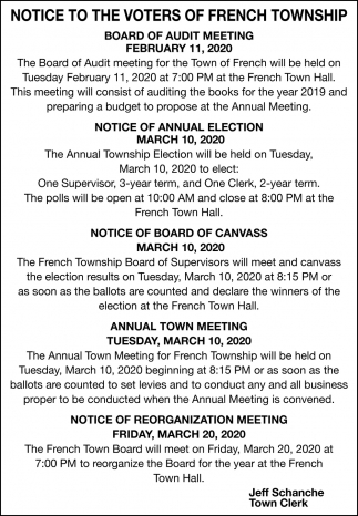 Notice To The Voters Of French Township