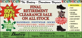 Final Retirement Clearance Sale On All Stock