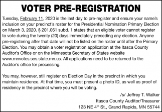 Voter Pre-Registration
