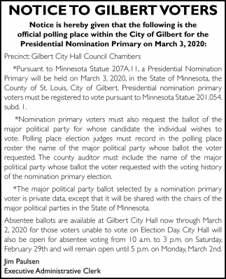 Notice To Gilbert Voters