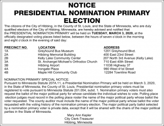 Notice Presidential Nomination Primary Election