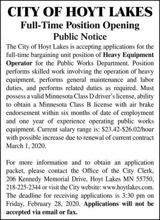 Full-Time Position Opening