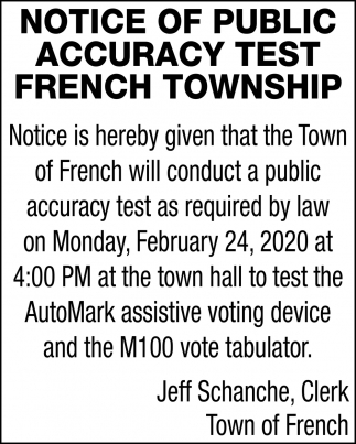 Notice Of Public Accuracy Test
