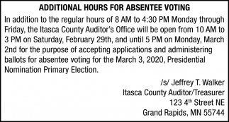 Additional Hours For Absentee