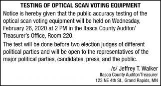 Testing Of Optical Scan Voting Equipment