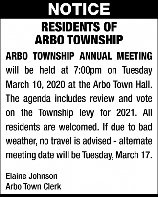 Arbo Township Annual Meeting