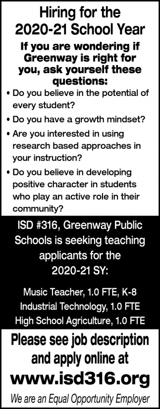 Hiring For The 2020-21 School Year