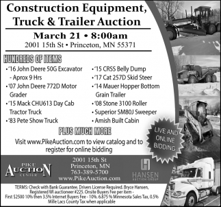 Construction Equipment Truck & Trailer Auction
