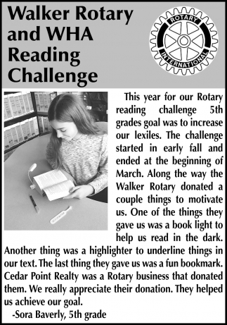 Walker Rotary And WHA Reading Challenge
