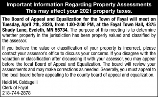 Important Information Regarding Property Assessments