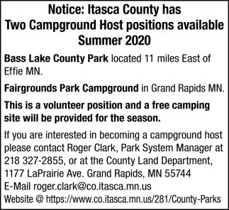 Two Campground Host Positions Available Summer 2020