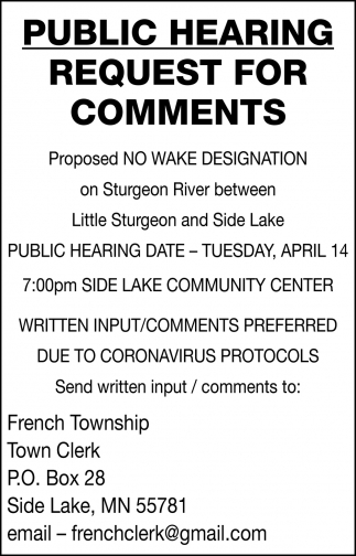Public Hearing Request For Comments
