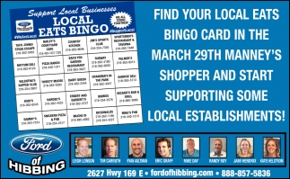Find Your Local Eats Bingo Card