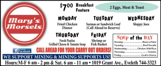 $7.00 Breakfast Feature
