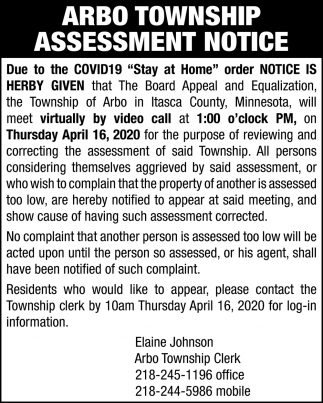 Arbo Township Assessment Notice