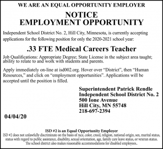 Notice Employment Opportunity