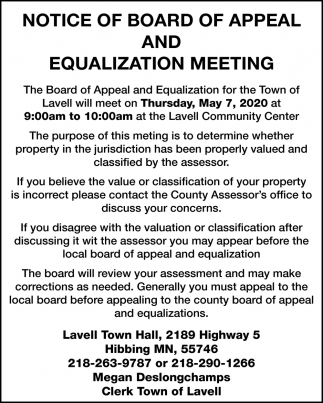 Notice Of Board Of Appeal And Equalization Meeting