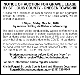 Notice Of Auction For Gravel Lease