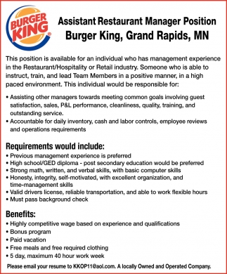 Assistant Restaurant Manager Position