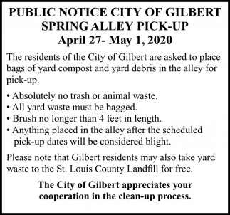 Public Notice City Of Gilbert