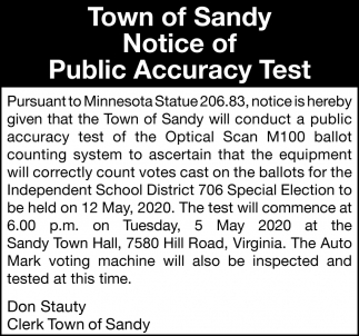 Town Of Sandy Notice Of Public Accuracy Test
