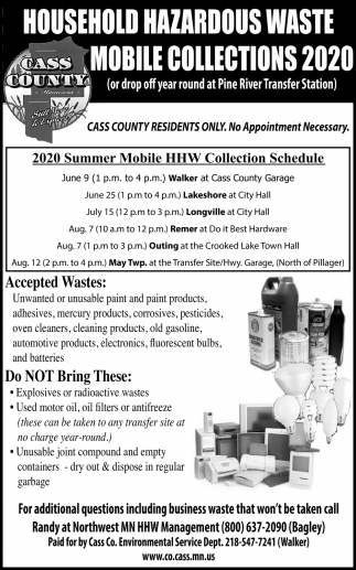 Household Hazardous Waste Mobile Collections 2020