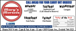 Call Ahead For Your Carry Out Orders!