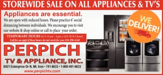 Storewide Sale On All Appliances & TV's