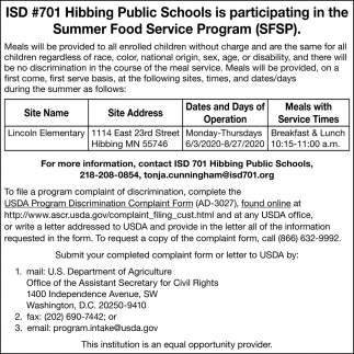 ISD #701 Hibbing Public Schools Is Participating In The Summer Food Service Program (SFSP)