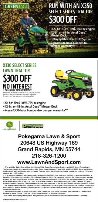 Run With An X350 Select Series Tractor