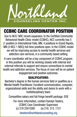 CCBHC Care Coordinator Position