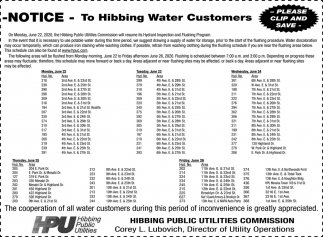 Notice To Hibbing Water Customers