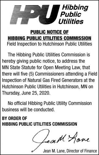 Public Notice Of Hibbing Public Utilities Commission