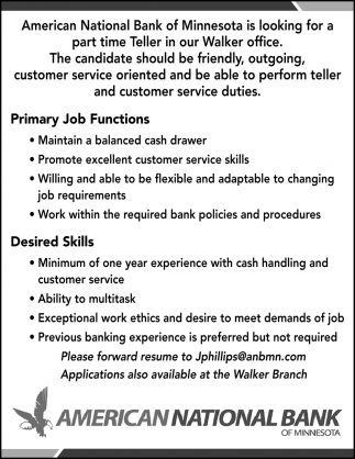 Part Time Teller Needed