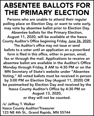 Absentee Ballots For The Primary Election