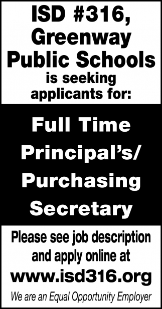 Full Time Principal's/Purchasing Secretary