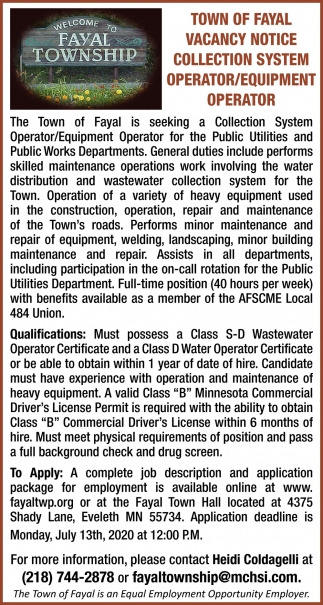Town Of Fayal Vacancy Notice Collection System Operator/Equipment Operator