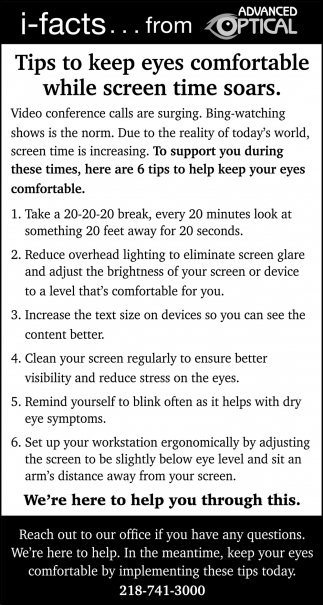 Tips To Keep Eyes Comfortable While Screen Time Soars.