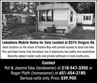 Lakeshore Mobile Home For Sale