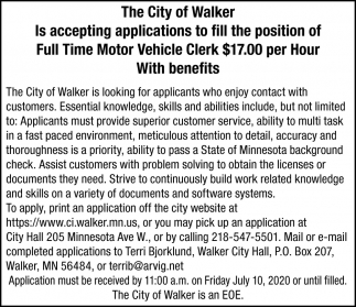 Full Time Motor Vehicle Clerk