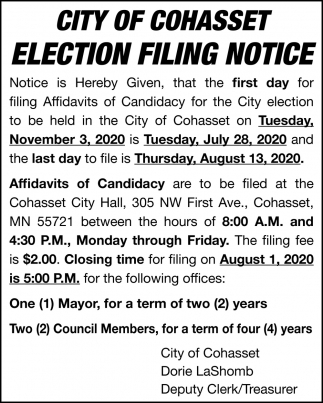 Ellection Filing Notice